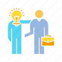 business man, coworker, creativity, friend, idea, light bulb, solution, thinker icon