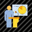 boss, conference, executive, leader, leadership, pie chart, podium, present, president, speaker icon