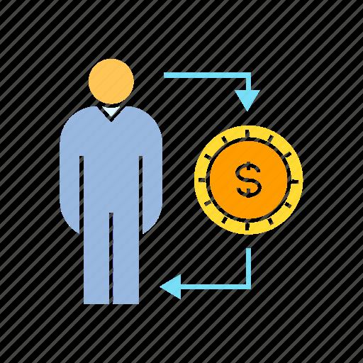 allocation, finance, funding, money, person icon