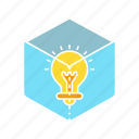 box, creative, idea, intelligent, light bulb, smart, solution, think icon