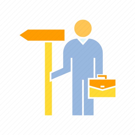 business man, dealer, decision, road sign, signage icon