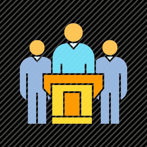 boss, chairman, conference, leader, podium, president, speaker, spokesman, team, teamwork icon