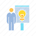 creativity, idea, idea present, light bulb, present, smart, solution, whiteboard icon