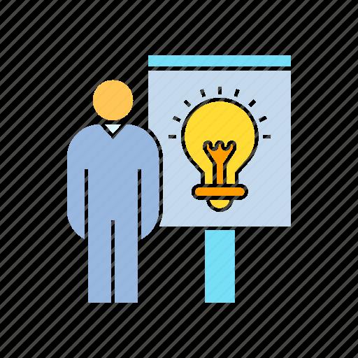 creativity, idea, idea present, light bulb, present, smart, solution, whiteboard icon