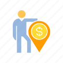 finance, find, money, person, pin icon
