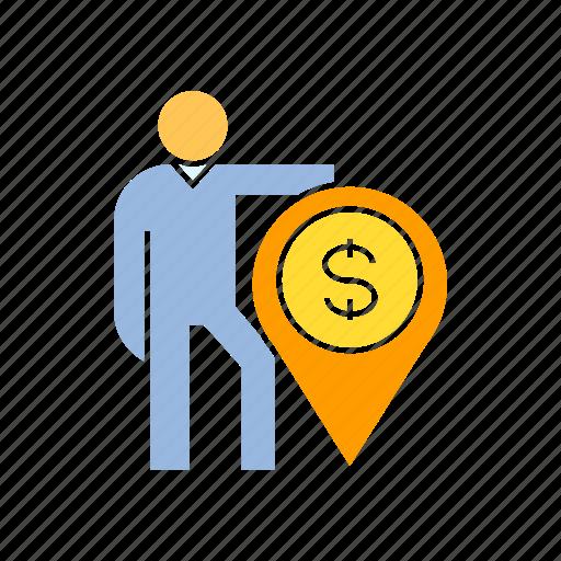 finance, find, money, person, pin icon
