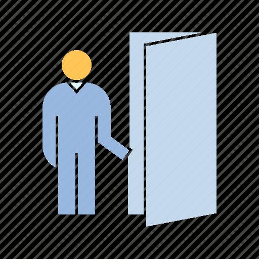 door, exit, open door, walk icon
