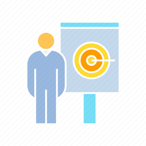 corporation, dart, focus, office, organization, people, presentation, target, whiteboard icon