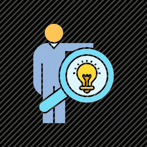 creativity, idea, magnifier, person icon