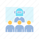 android, conference, cyborg, robot, teleconference icon