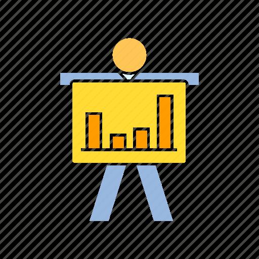 data, graph, person, present icon
