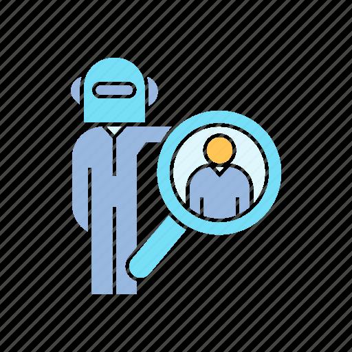 human resource, recruiter, robot worker icon
