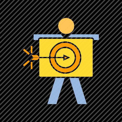 achievement, dart, person, target icon