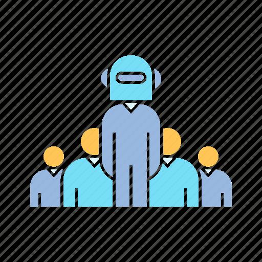 boss, leader, robot icon