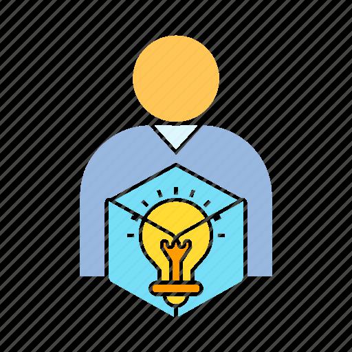 creativity, idea, person, solution icon