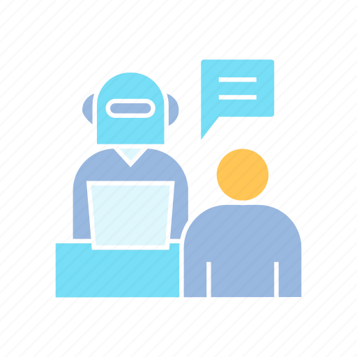 consultant, interview, robot icon