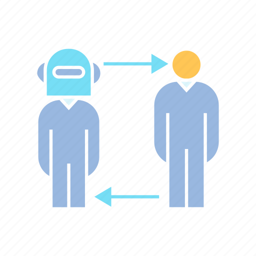 allocation, people, robot worker icon
