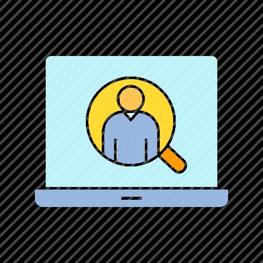 human resource, laptop, recruiting icon