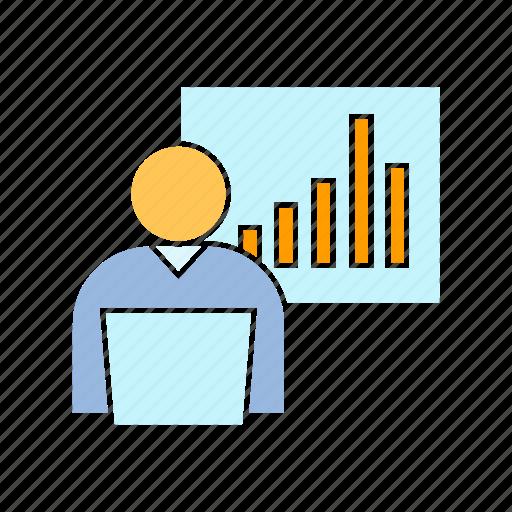 chart, graph, person icon