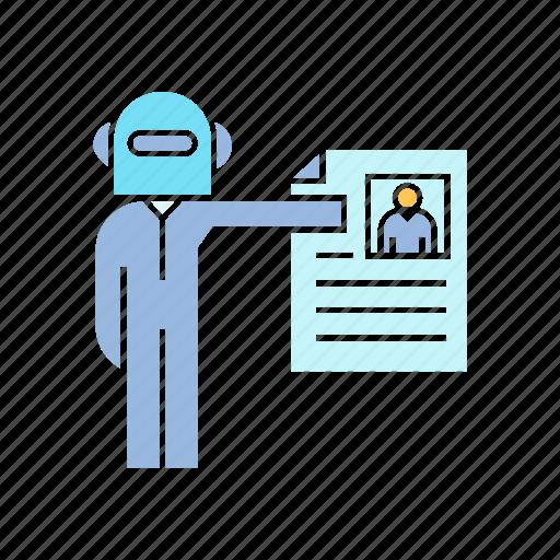 job, job apply, robot, robot employee icon