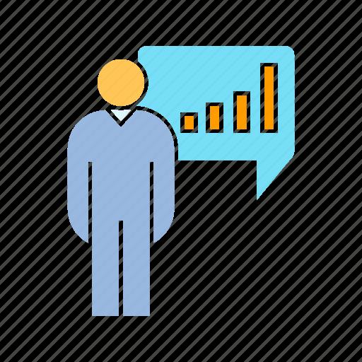 data, graph, person icon