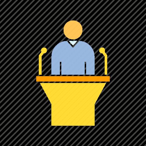 executive, moderator, speaker, spokesman icon