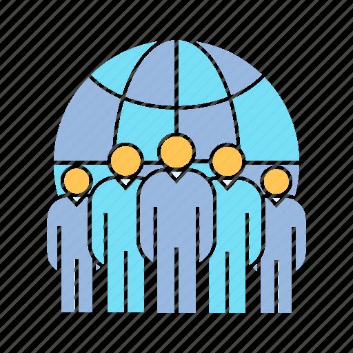 globe, management, teamwork icon