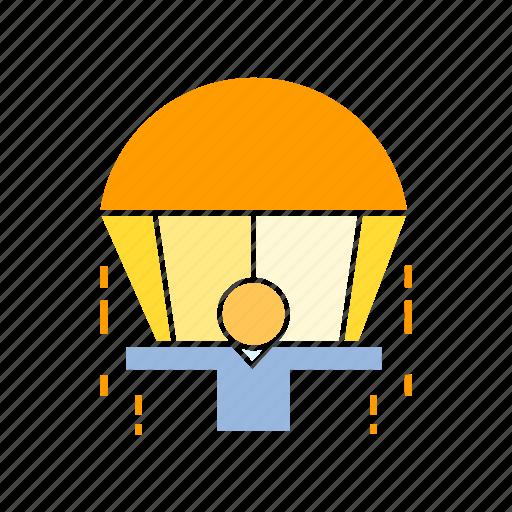 jump, parachute, risk icon