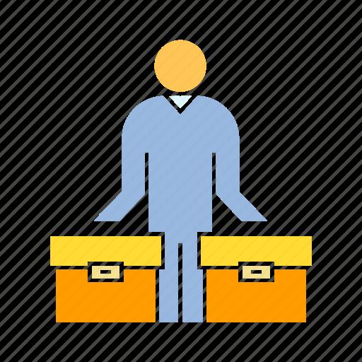 box, business man, person icon