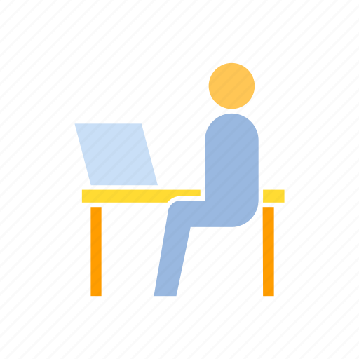 office, sitting, worker icon