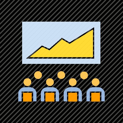 conference, corporation, graph icon