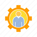 admin, gear, people icon