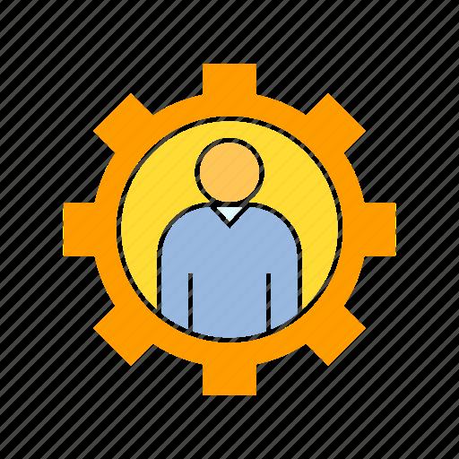 admin, gear, people icon