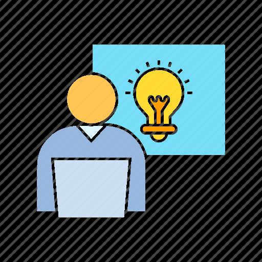 creativity, idea, light bulb, worker icon
