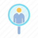 human resource, magnifier, recruitment icon