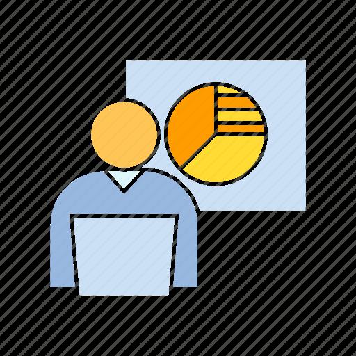market, pie chart, reporter icon