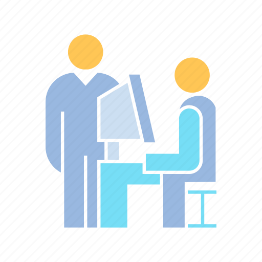 computer, employee, office, working icon