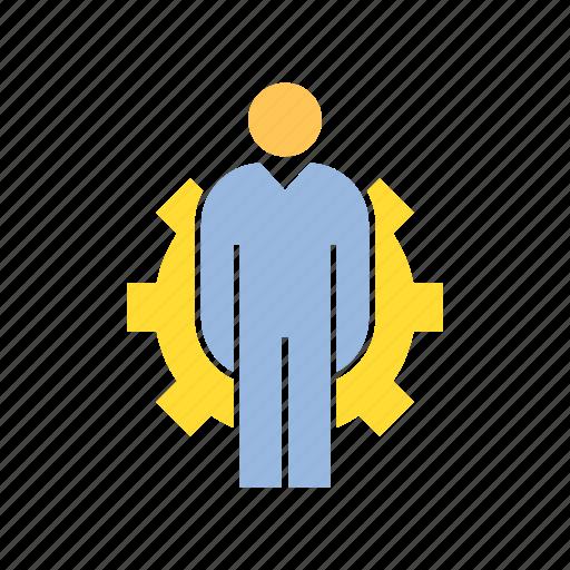 admin, gear, person icon