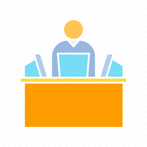 computer, monitoring, office, worker icon