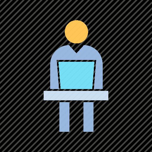 employee, laptop, worker icon