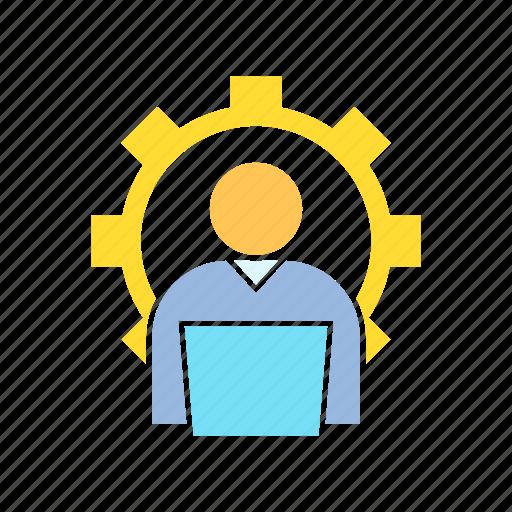 admin, gear, worker icon