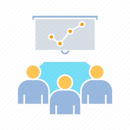 corporation, graph, meeting, whiteboard icon