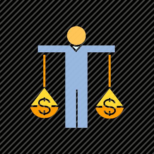 balance scale, finance, investor icon