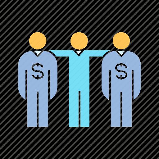 banker, funder, investor, teamwork icon