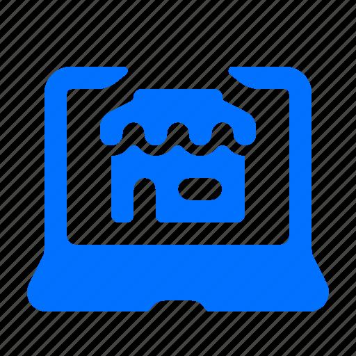 laptop, online, shop, store icon
