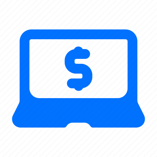 dollar, laptop, online, payment icon