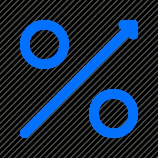 arrow, percentage, rise icon