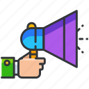 announcement, business, economic, horn icon