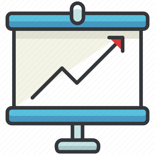 arrow, business, chart, economic, graph, presentation icon