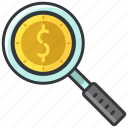 business, dollar, economic, finance, find, magnifier, search icon